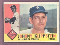 1960 Topps #191 Johnny Klippstein EXMT/NM LOS ANGELES DODGERS crease free