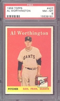 1958 Topps #427 Al Worthington PSA 8 NM-MT SAN FRANCISCO GIANTS