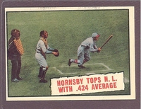 1961 Topps #404 Hornsby Tops NL With .424 Average EX-MT+ crease free