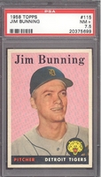 1958 Topps #115 Jim Bunning (HOF) PSA 7.5 NM+ DETROIT TIGERS
