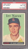 1958 Topps #114 Irv Noren PSA 8 NM-MT ST LOUIS CARDINALS TOUGH