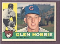 1960 Topps #182 Glen Hobbie EX-MT  CHICAGO CUBS crease free