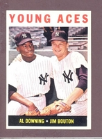 1964 Topps #219 YOUNG ACES Bouton Downing VG NEW YORK YANKEES paper loss on back