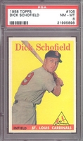 1958 Topps #106 Dick Schofield PSA 8 NM-MT ST LOUIS CARDINALS TOUGH