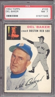 1954 Topps #133 Del Baker PSA 7 nm Boston Red Sox