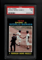 1971 Topps #329 World Series Game 3 PSA 7 NM Frank Robinson Shows Muscle! ORIOLES